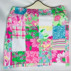 Lilly Pulitzer pink green mini skirt size 8 zip